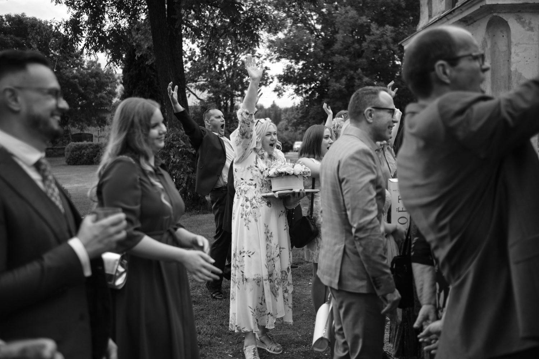 Svečiai sutinka jaunuosius Babtyno-Žemaitkiemio dvaro kieme